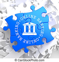 Online Banking Concept on Blue Puzzle. - Online Banking on...