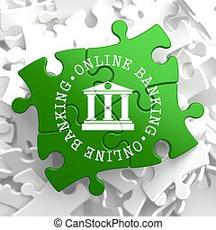 Online Banking Concept on Green Puzzle Pieces.