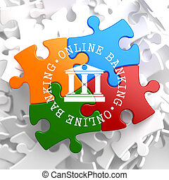Online Banking Concept on Multicolor Puzzle.