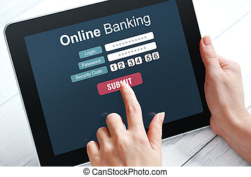 Online banking concept - Female hands using online banking...