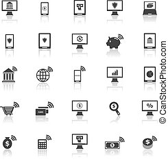 Online banking icons with reflect on white background