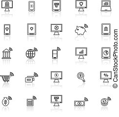 Online banking line icons with reflect on white background