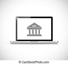 Online Banking on a laptop. Concept illustration