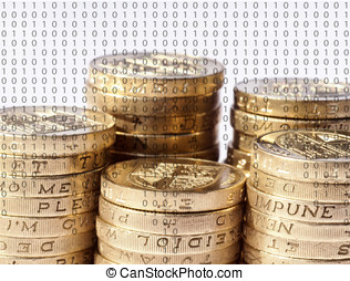 Online banking - Ones and zeros overlaid on stack of British...