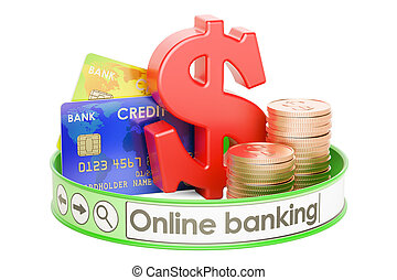 online-bankwesen, begriff, 3d, übertragung