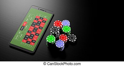 Online betting. Smartphone and casino poker chips on a black background, banner, copy space. 3d illustration