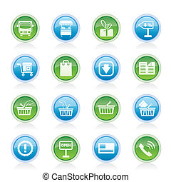 online bevásárol, ikonok