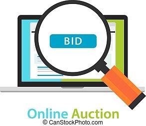 online bidding auction laptop bid button concept icon