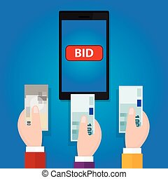 online bidding auction mobile phone bid button hand raised...