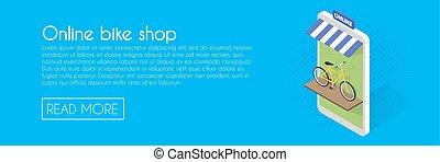 Online bike shop concept. Isometric phone vector...