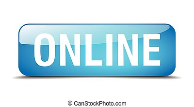 online blue square 3d realistic isolated web button