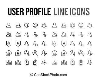 online boodschapend doend, vector, lijn, pictogram, -, app,...