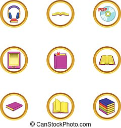Online book icons set, cartoon style