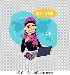Online booking banner on transparent background. Air Tickets Online Booking. Arab woman selling airplane tickets