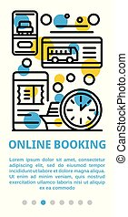 Online booking banner, outline style - Online booking banner...