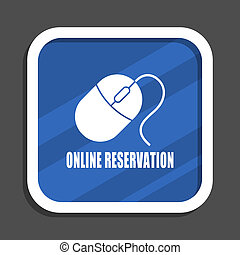 Online booking blue flat design square web icon
