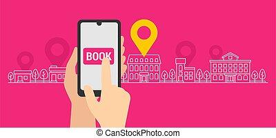Online booking concept - Online booking  - smartphone app ...