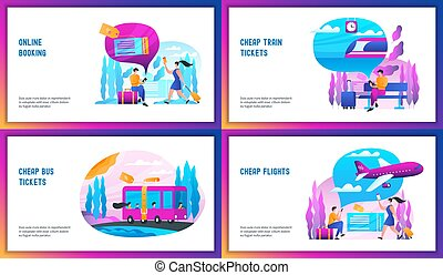 Online booking concept set. Abstract vector illustration