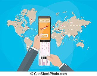 online booking for airplane tickets, world map