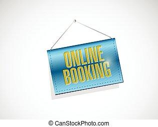 online booking hanging banner illustration design over a ...