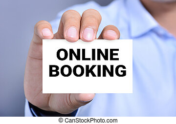 ONLINE BOOKING, message on the card held by a man hand