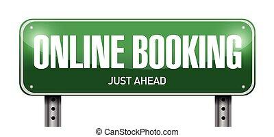 online booking road sign illustration design over a white ...