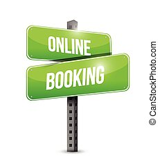 online booking sign illustration design over a white ...