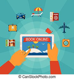 Online booking vector concept