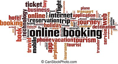 Online booking word cloud concept. Vector illustration