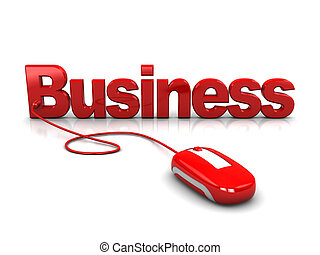 online business - 3d illustration of text 'business' with...
