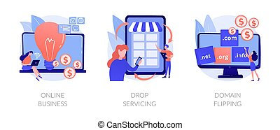Online business abstract concept vector illustration set. Drop servicing, domain flipping, business opportunity, outsource, drop shipping, web hosting, social media sales, promotion abstract metaphor.