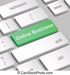 online business concept with computer keyboard