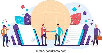 Online business deal concept. Vector flat graphic design illustration