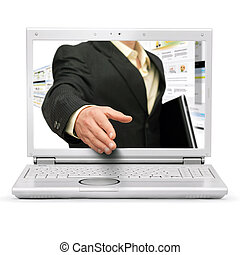 Online business deal - Online business handshake on white ...