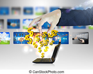 Online business. Dollar sign coming out of notebook screen