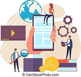 Online business education assistant concept. Vector flat cartoon graphic design illustration