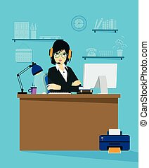 Online Business - Female employees working an online...