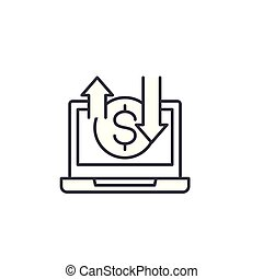Online business linear icon concept. Online business line vector sign, symbol, illustration.