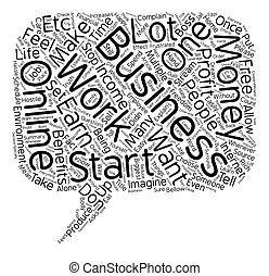 Online Business text background wordcloud concept