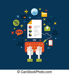 The person does online business. A vector illustration