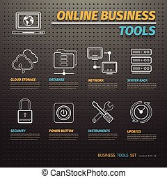 Online Business Tools on Dark Pegboard - Online business...