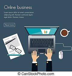 Online business Flat design vector illustration poster