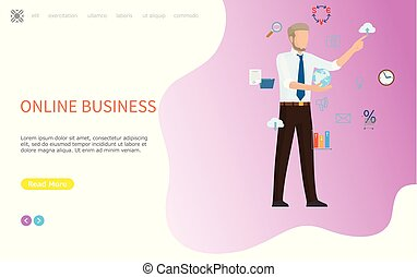 Online Business Web Poster, Man Arranging Icons