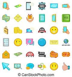 Online buying icons set, cartoon style