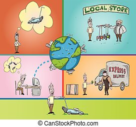 vector illustration of world sharing economy in now days, based of new technology and communication.