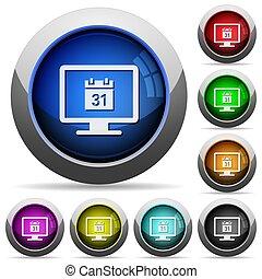 Online calendar round glossy buttons