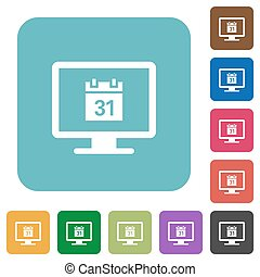 Online calendar rounded square flat icons