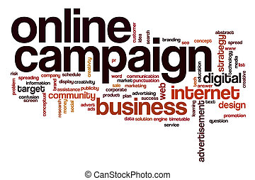 Online campaign word cloud concept with business internet...