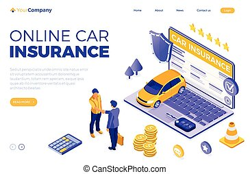 Online Car Insurance Isometric Concept