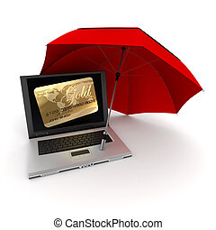 Online Card payment protection - 3D rendering of a laptop...